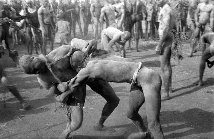 George Rodger SUDAN, Kordofan, A Korongo Nuba wrestling match 1949.   Placements: CHEST & ABS | CHEST, ABS & LEG | ABS & LEG | ARM | CHEST, ARM & BACK |