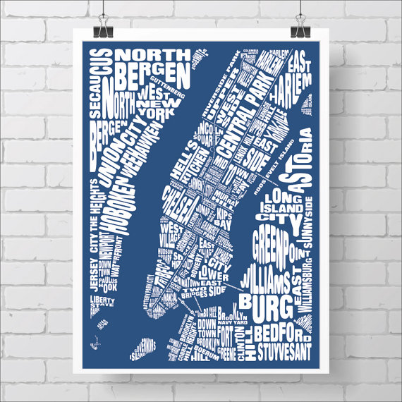 New Yorkers love our neighborhoods so much, we hang them on our walls.  Purchase this print  on  Etsy  via  @kiacoltd .