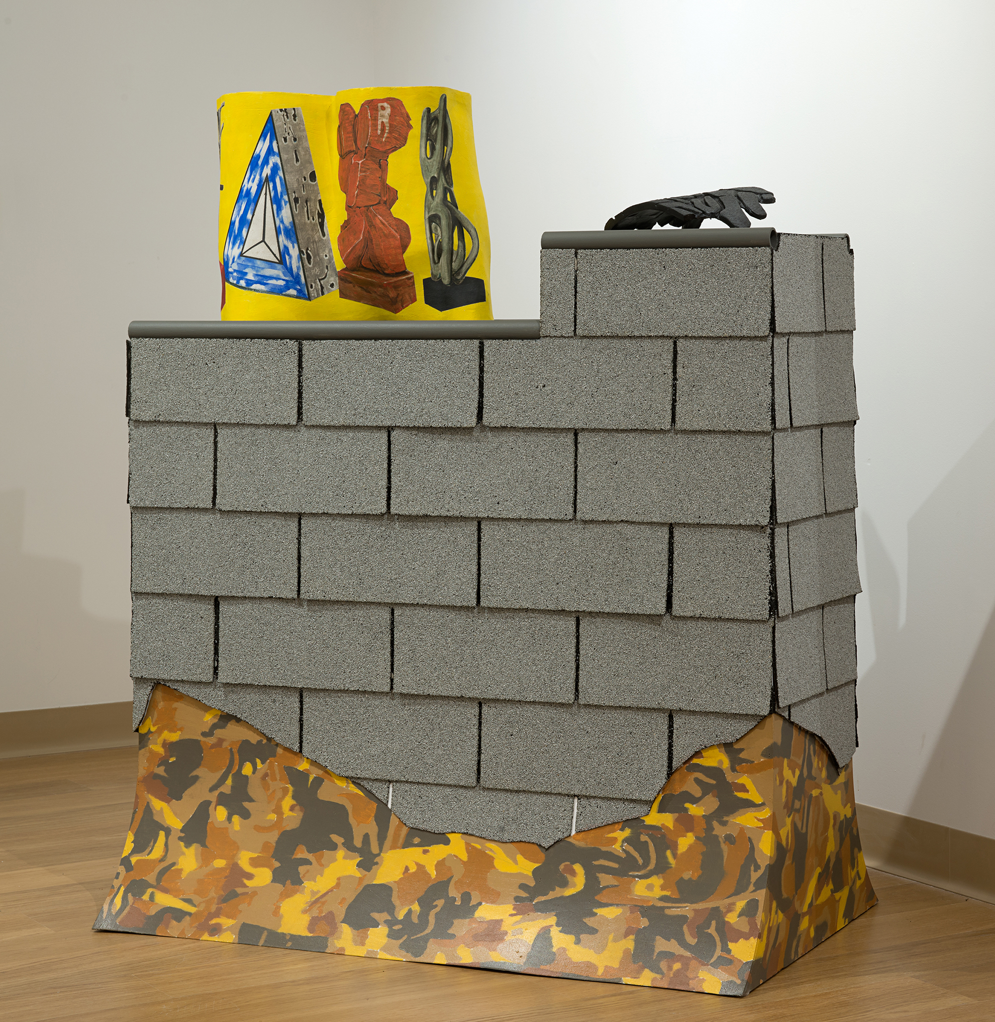 MARS installation, 2015  stoneware, roofing shingles, wood, oil paint, and pvc pipe  24 x 48 x 48 inches
