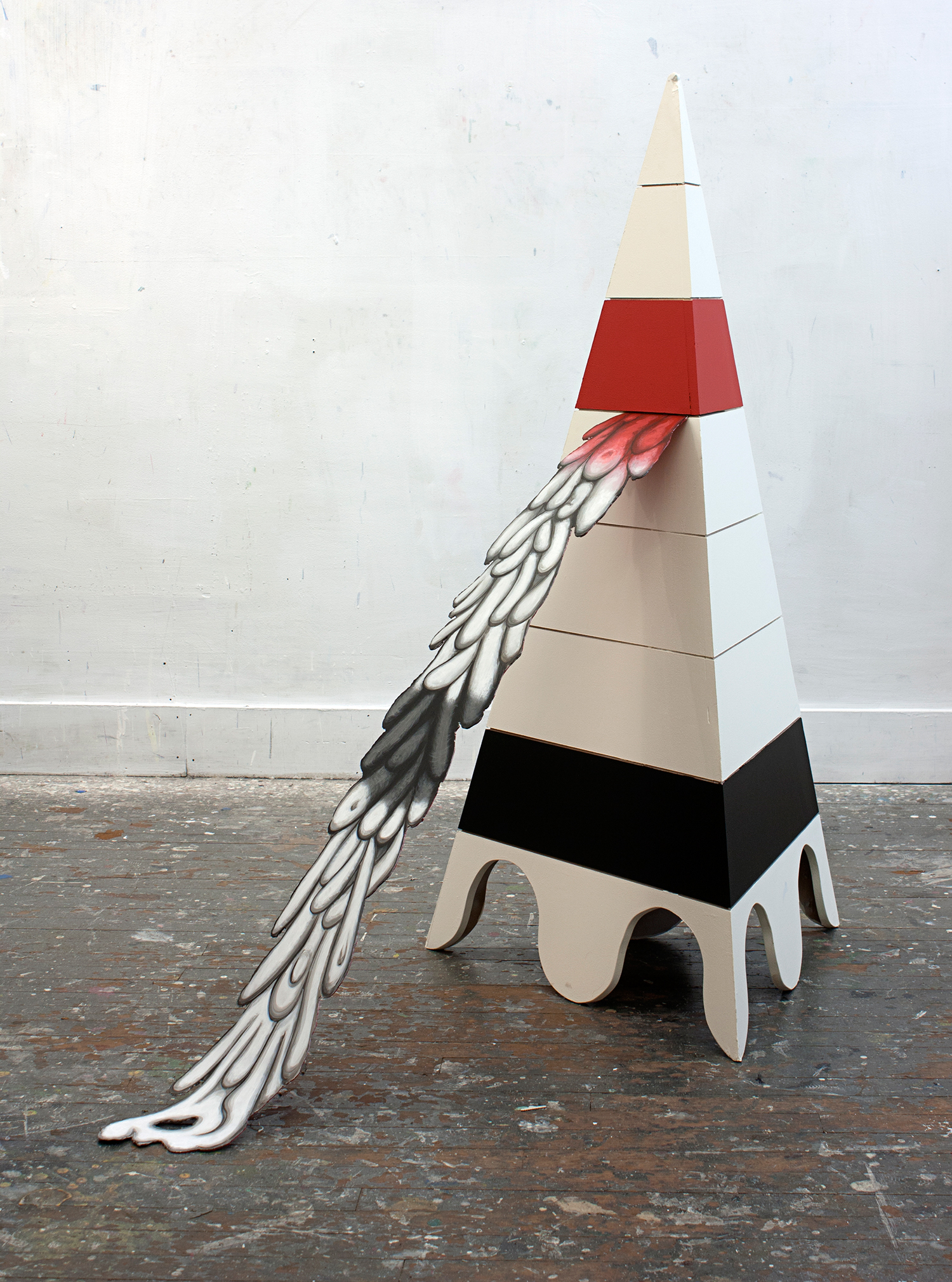 Mars Object , 2015  acrylic on wood and steel  24 x 48 x 48 inches