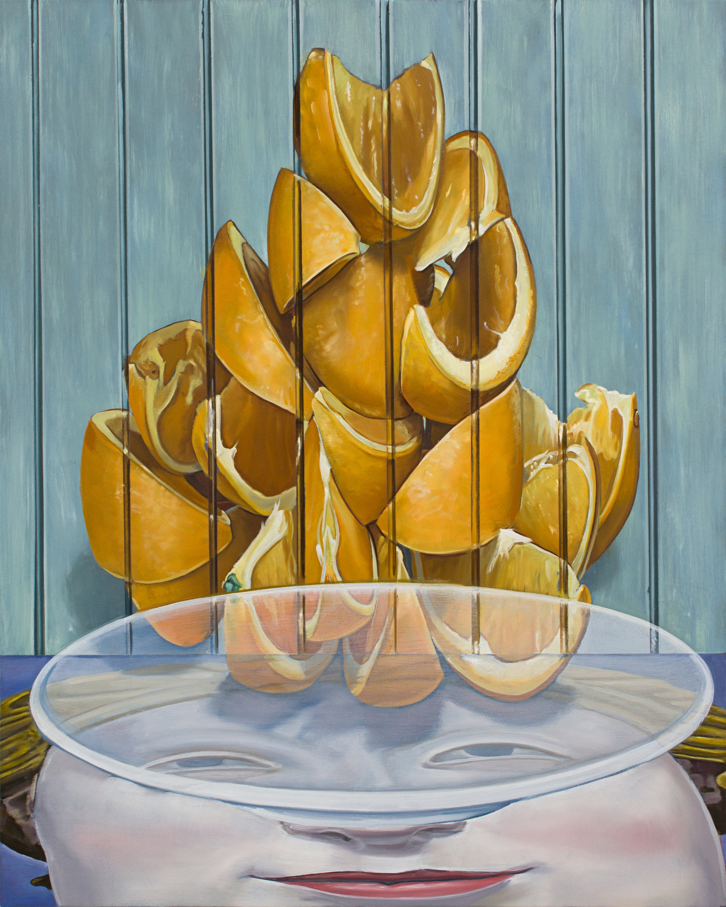 Orange Trip for Méliès,  2018. Oil on panel, 20 x 16 inches