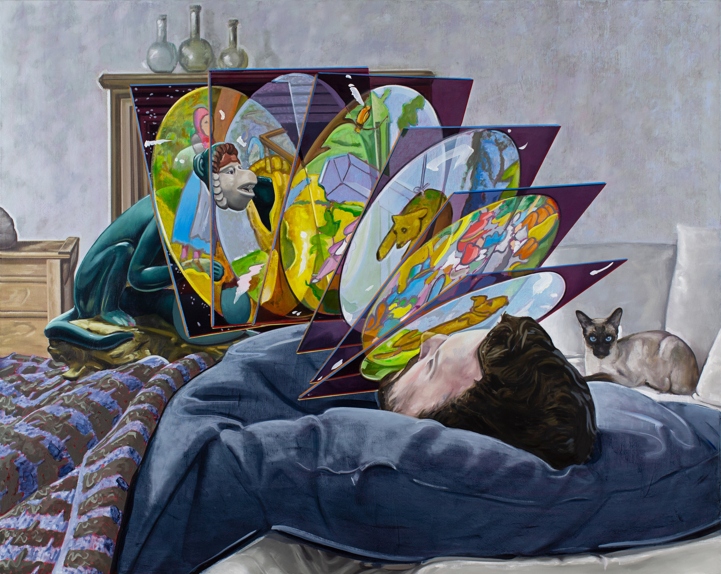 Self-portrait Sleeping,  2019. Oil on canvas, 60 x 48 inches