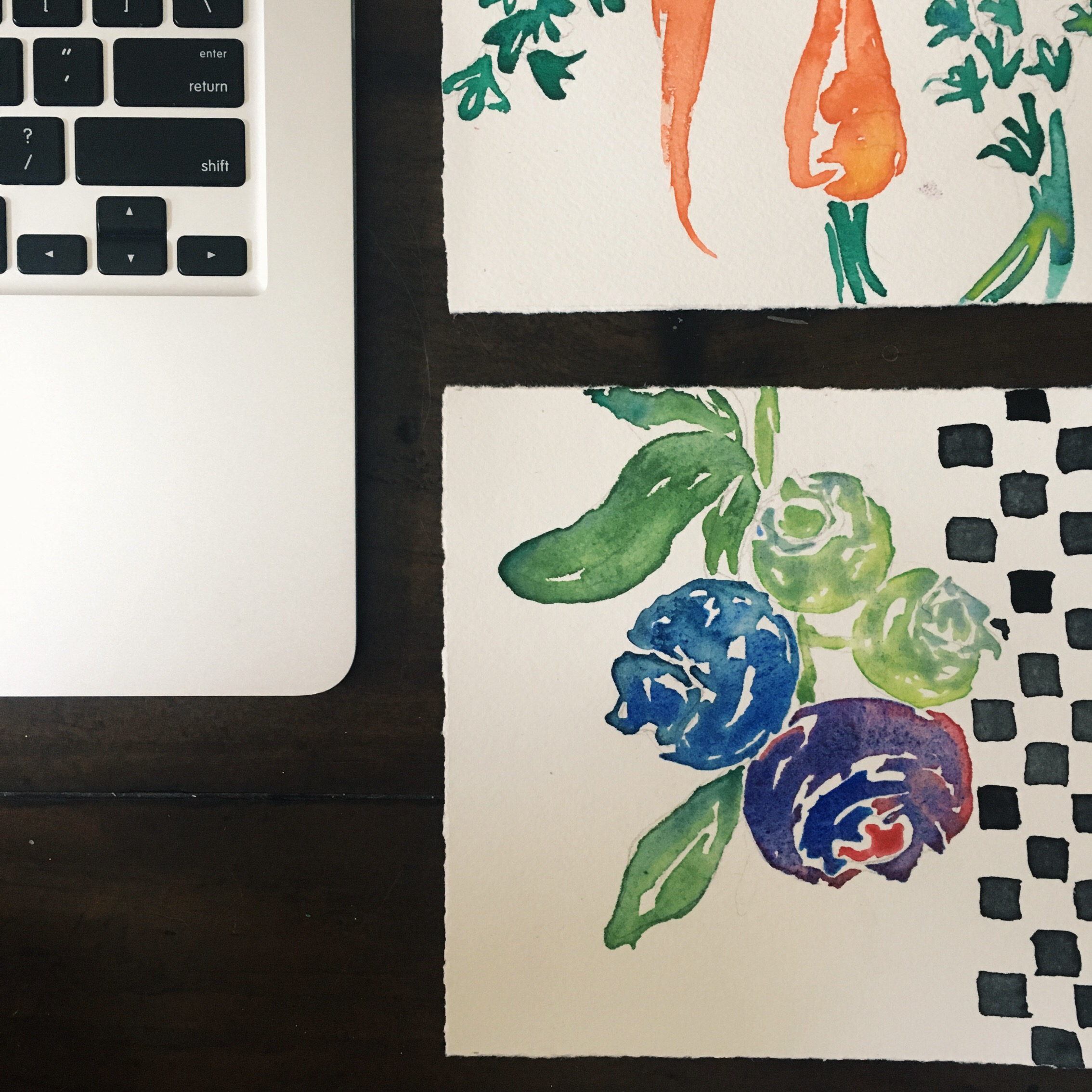 Have I ever before noticed the similarity between computer keys and the graphic patterns I put behind my paintings? No. Do I love it? Yes.