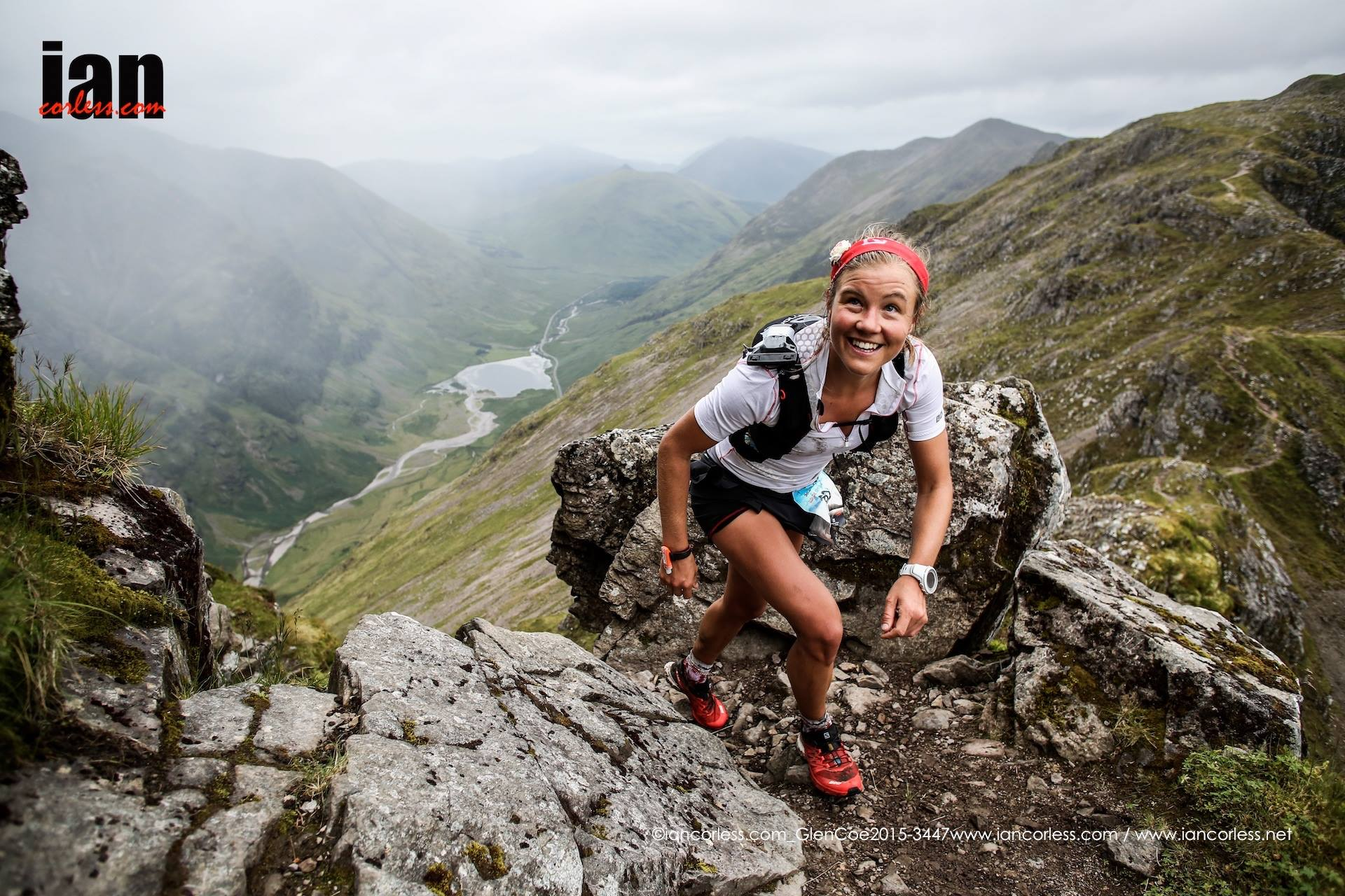 Skyrunning World Champion, Emelie Forsberg clearly enjoying herself on route to winning the 2015 race © iancorless.com