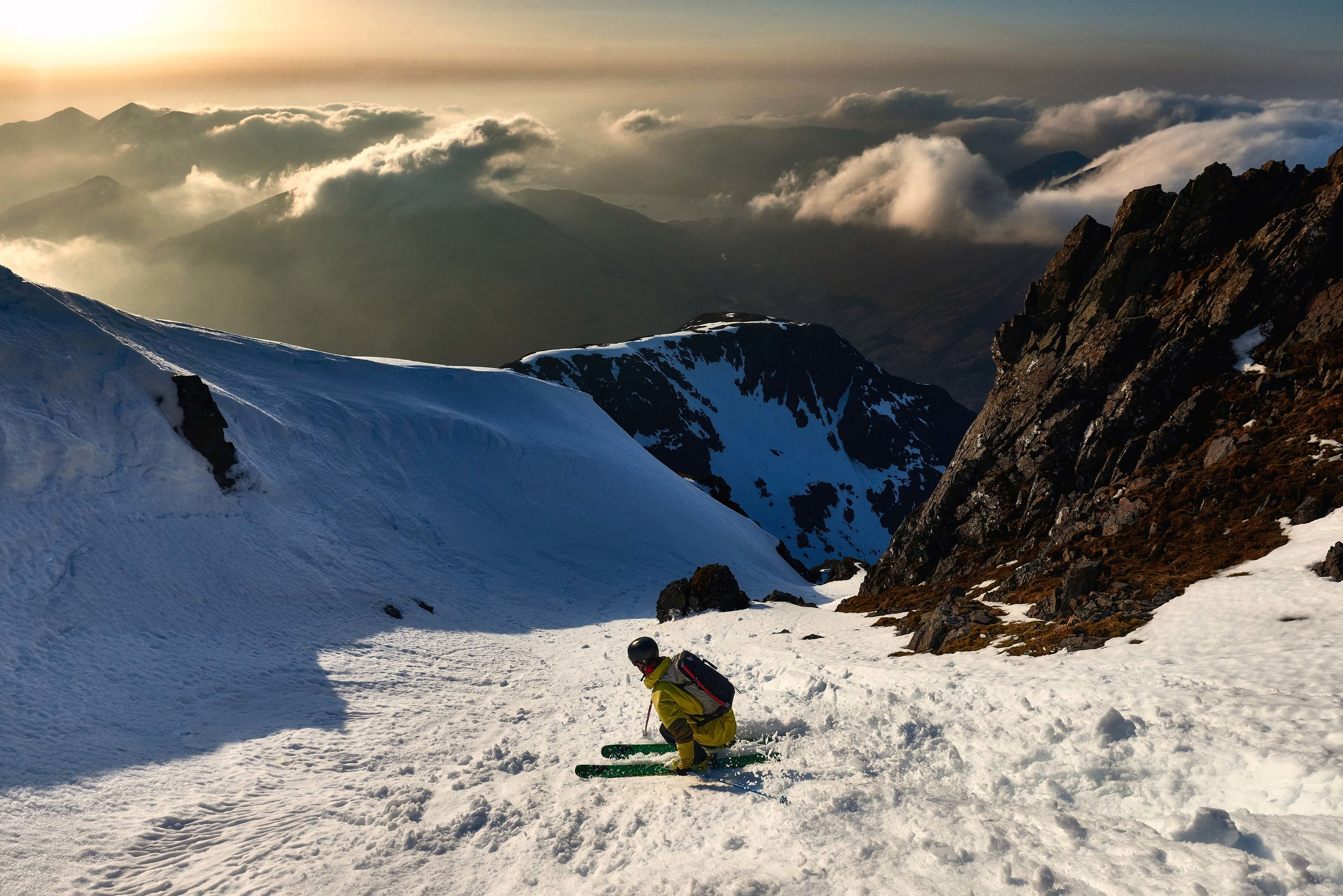 Skis on from the summit and straight into the relatively mellow top section of Summit Gully. The fun/slightly intimidating thing about this line (depending on your point of view) is you can't see most of it from the top, so unless you've climbed it beforehand then you've no idea what to expect from it on the way down (vs most Scottish gully lines which are either fairly short or dead straight so you can see down the length of them).