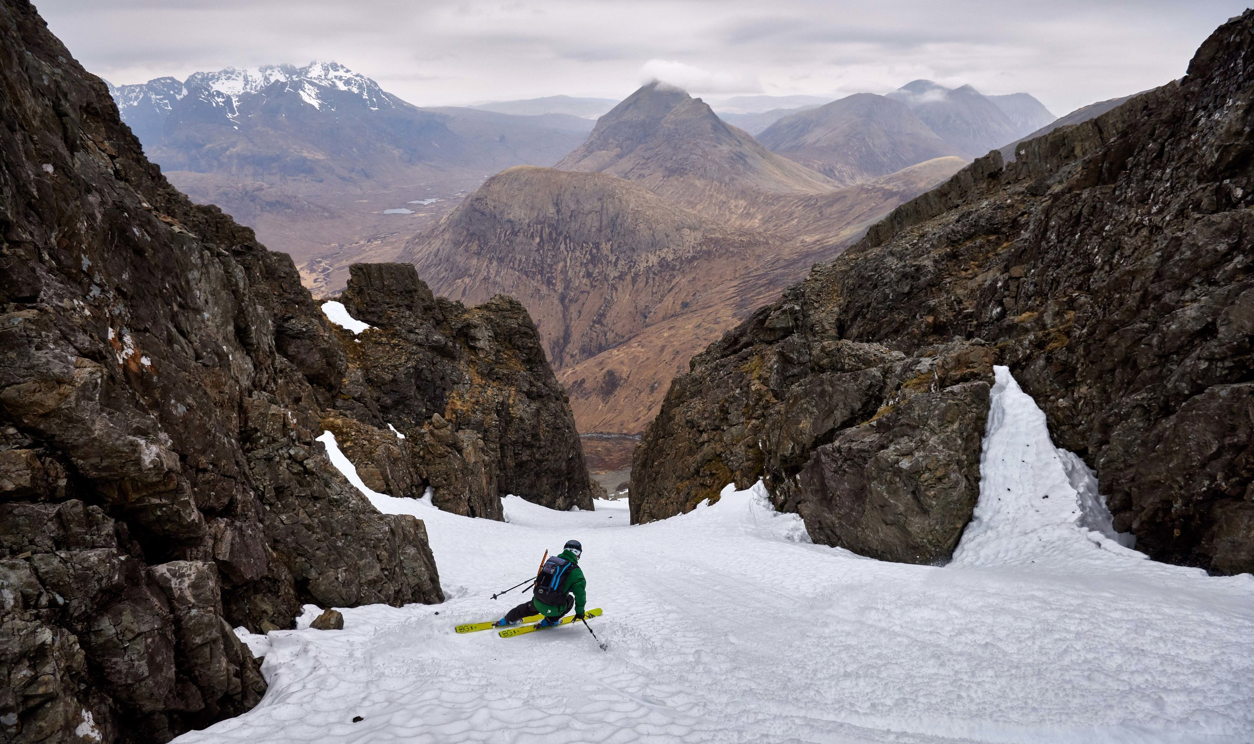 Dave Anderson in the lower section of Blà Bheinn's Pinnacle Gully.