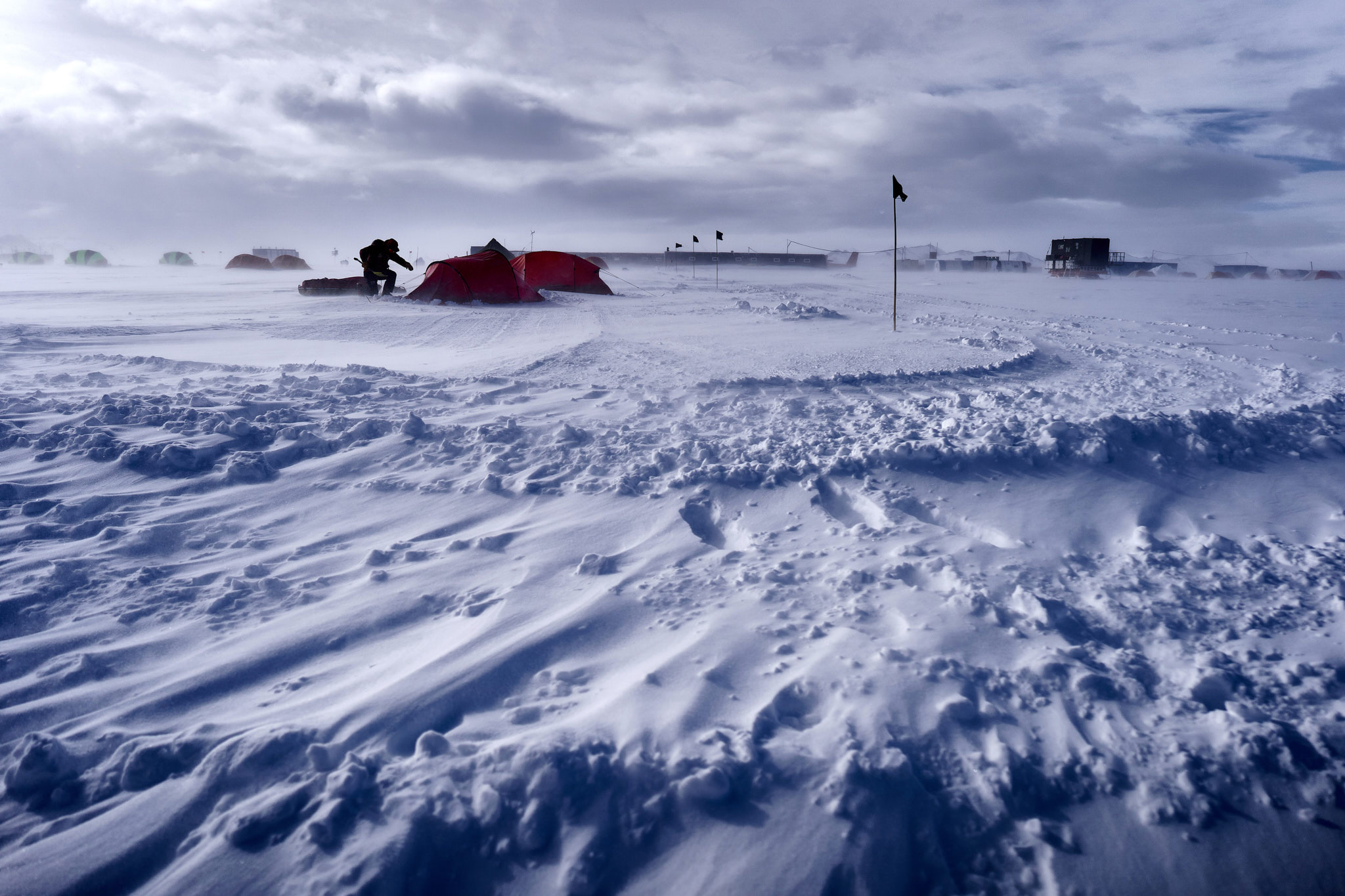 A windy day in Union Glacier camp