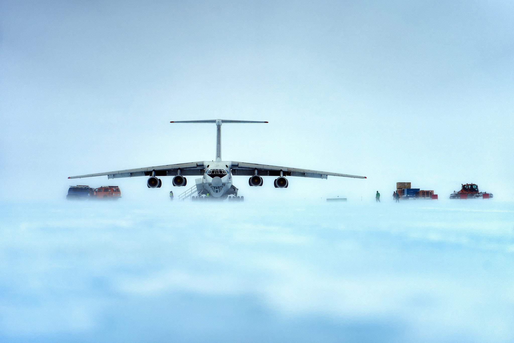 The enormous Ilyushin IL-76 which flew us into Antarctica. Pictured here sitting on the blue ice runway that serves the camp on Union Glacier