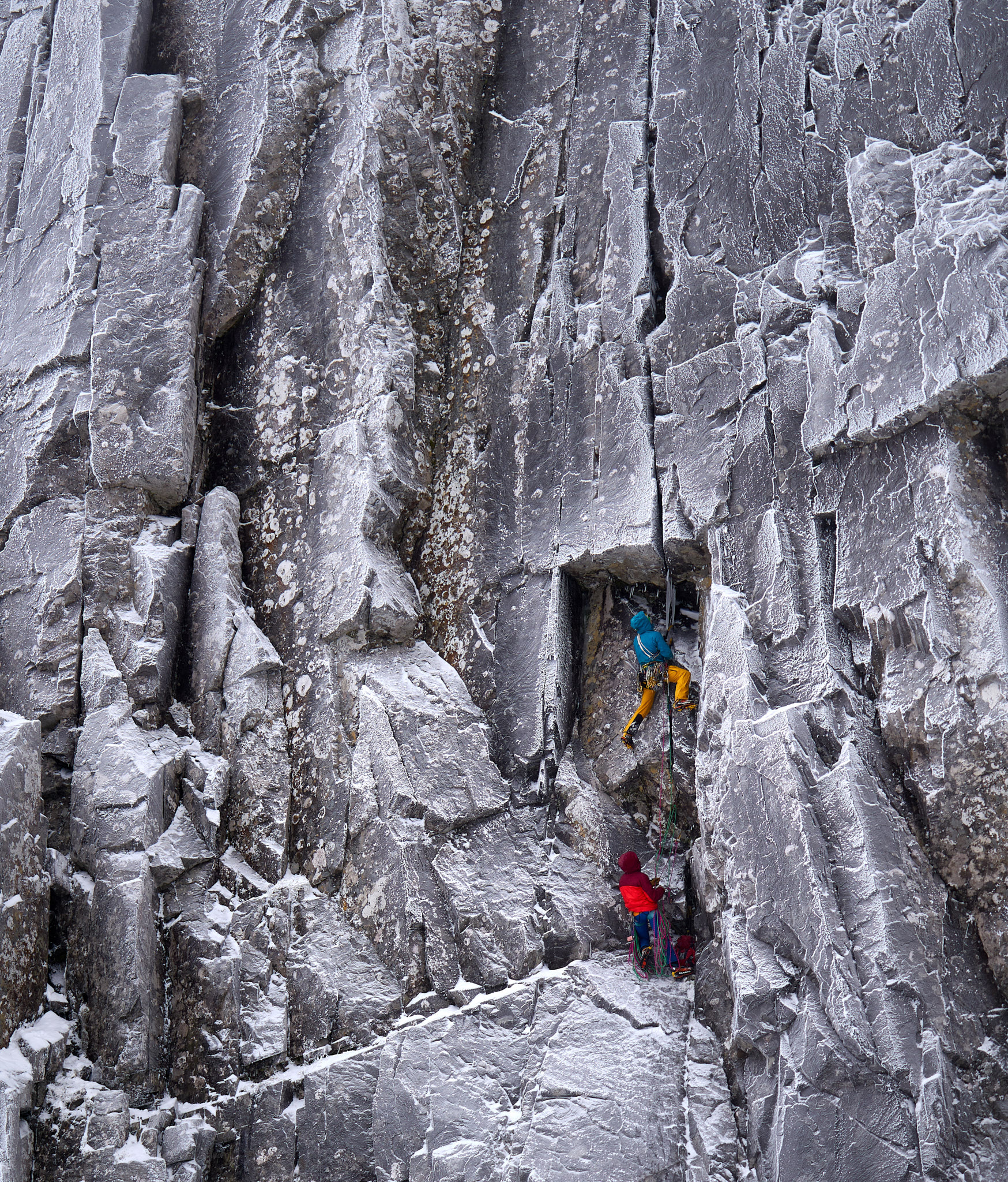Greg Boswell leading the delicate crux second pitch of the route