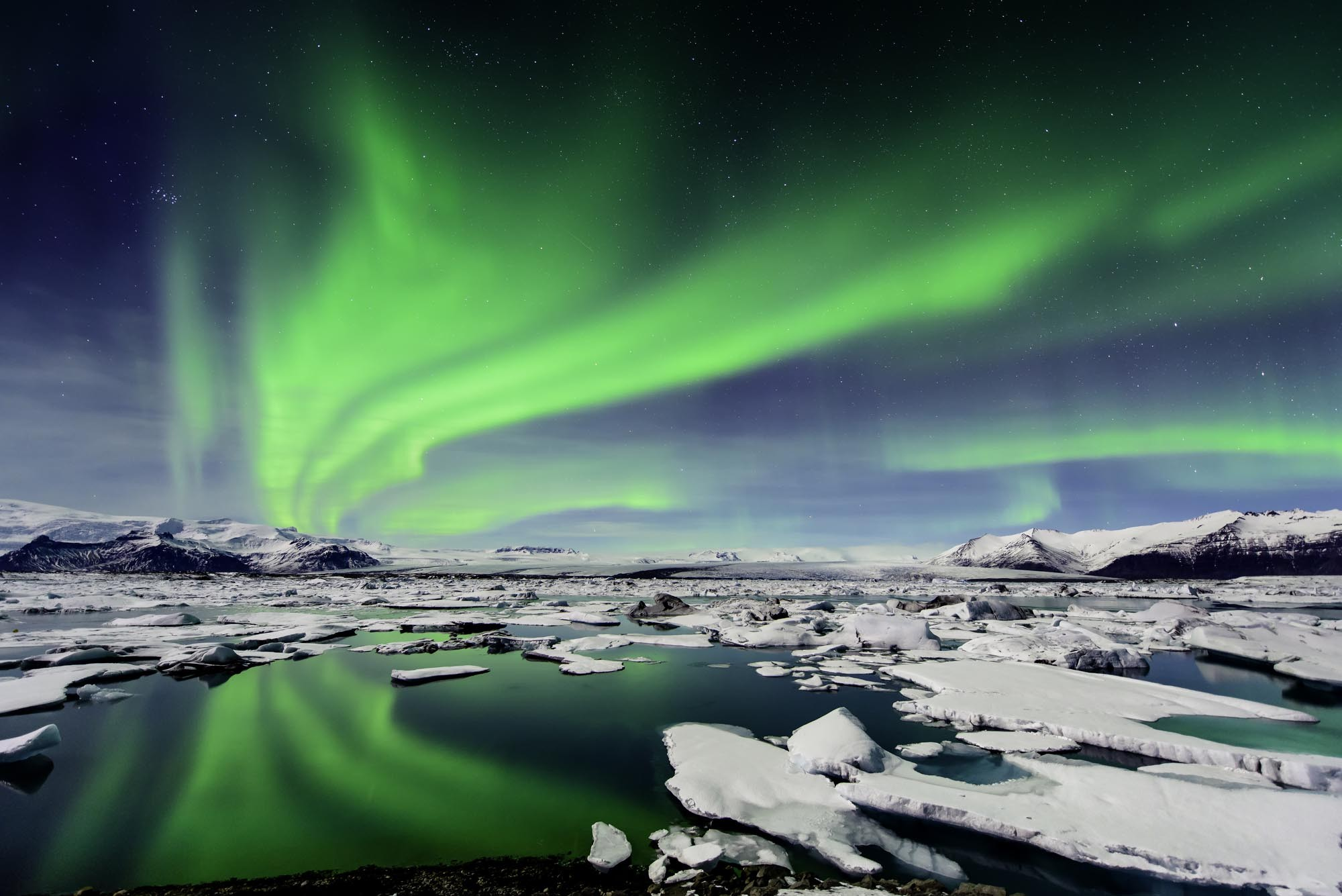 Aurora Borealis seen here in Southern Iceland