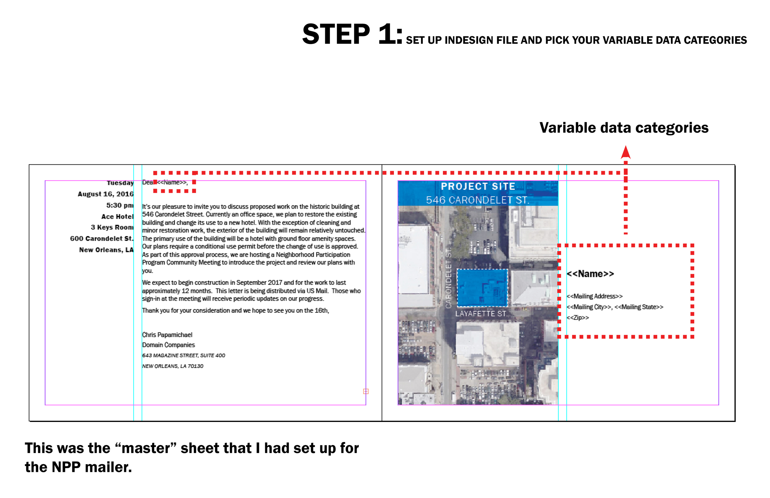 """This tutorial highlights the workflow between Excel and inDesign. This is similar to Word's ancient MailMerge feature in that you can have variable data on the same """"master"""" sheet, but using inDesign allows you to maintain the graphic consistency you desire.  I was tasked to prepare a letter invitation for a Neighborhood Participation Program (NPP) meeting. Given that there were 600+ names and address to send to, I didn't want to manually copy and paste the data into the inDesign file. Thus,DATA MERGE!"""