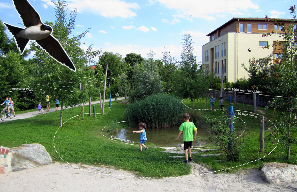 Arkadien Winnenden by Ramboll Studio Dreiseitl showing multi-functional green infrastructure.