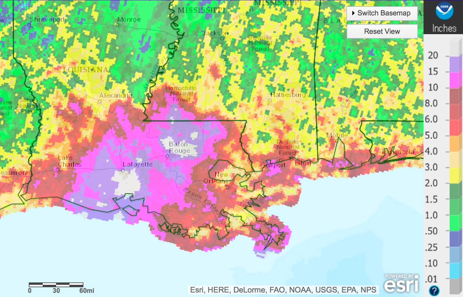 Rainfall totals during the storm.