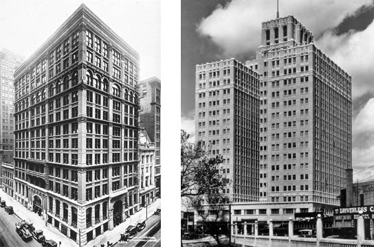 Home Insurance Building (left).Chicago, 1885.Photo by the Chicago Architectural Photographing Company  Milam Building (right). San Antonio, 1928. Photo from the San Antonio Business Journal
