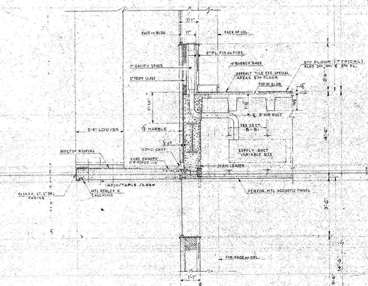 Figure       SEQ Figure \* ARABIC     4:        Wall section detail, Pan American Life Building.