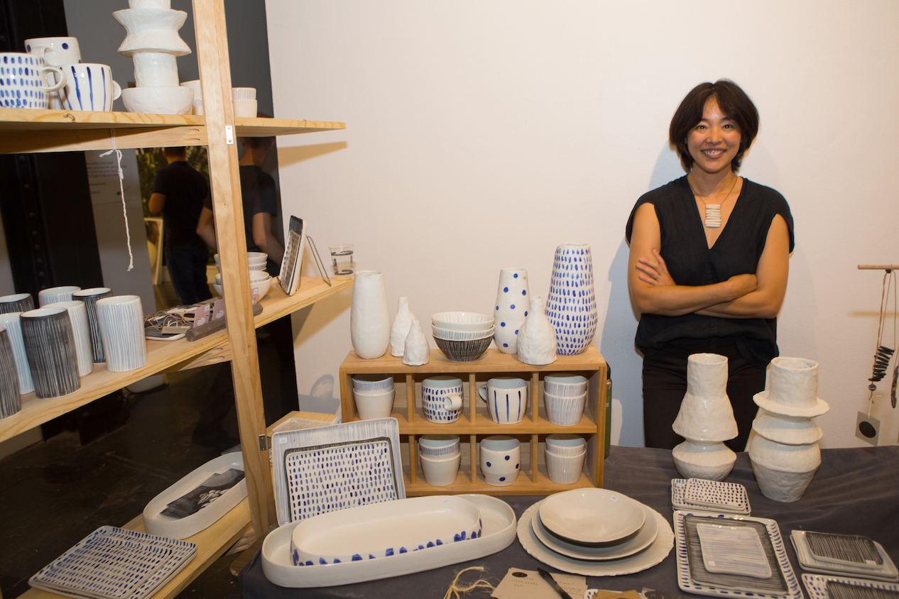 Pittsburgh-based artist  Reiko Yamamoto (CSA PGH 2015 Artist) stands proudly with her modern, versatile and functional pottery and jewelry.