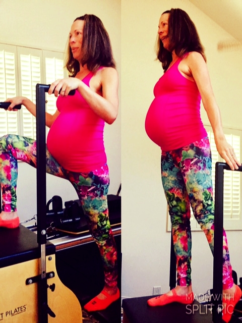 Working out at home, 'Forward Step-Up' exercise on my STOTT PILATES Chair using handles as arm support during my pregnancy