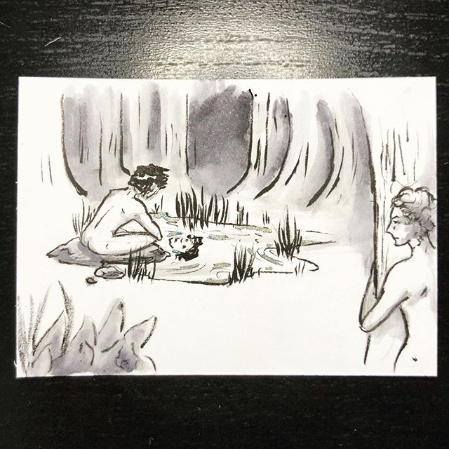 #inktober day 15: legend.  This was a super quick 15 minute drawing between work shifts based on the myth of Narcissus and Echo, one of my favorite tales of vanity and unrequited love from Greek mythology. As a painfully shy, incredibly awkward teenager, I really related to Echo. I wrote so much unrequited-love poetry... #inktober2019 #greekmythology #art #artofinstagram #narcissusandecho