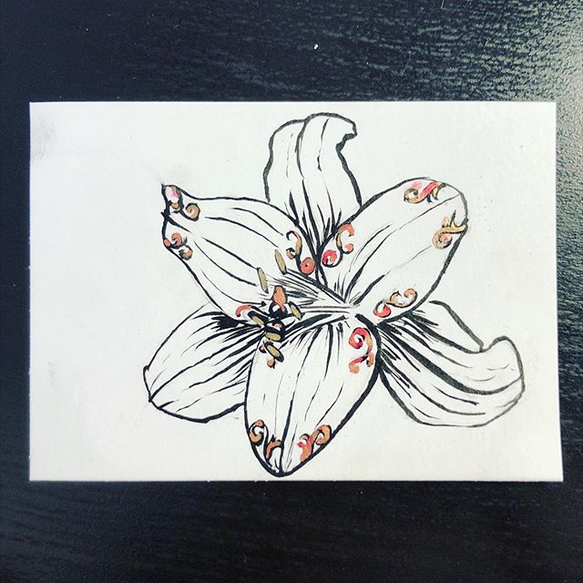 #inktober day 17: ornament. Ornament made me think of ornamental which made me think of #rococo which made me think of #gildingthelily and thus I present a gilded lily. And yes I skipped yesterday; I did a painting twice and hated it both times and I wasn't in the step-out-of-your-zone-and-share-your-imperfections mood. But this one I can tolerate.  #inktober2019 #floral #pentelbrushpen #gilded