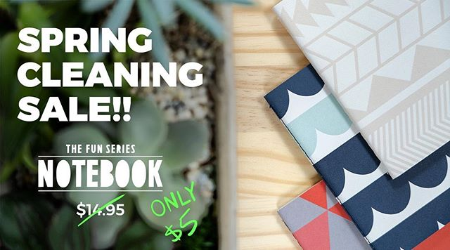 It's the first day of spring so it's time for a bit of SPRING CLEANING!  Right now you can get our FUN SERIES NOTEBOOKS for just $5!! AND everything else is 20%!! Check it out now! #inspiregood #sale #spring #notebook #pocketnotebooks #fun #patterns #springsale #journaling #prettyoffice