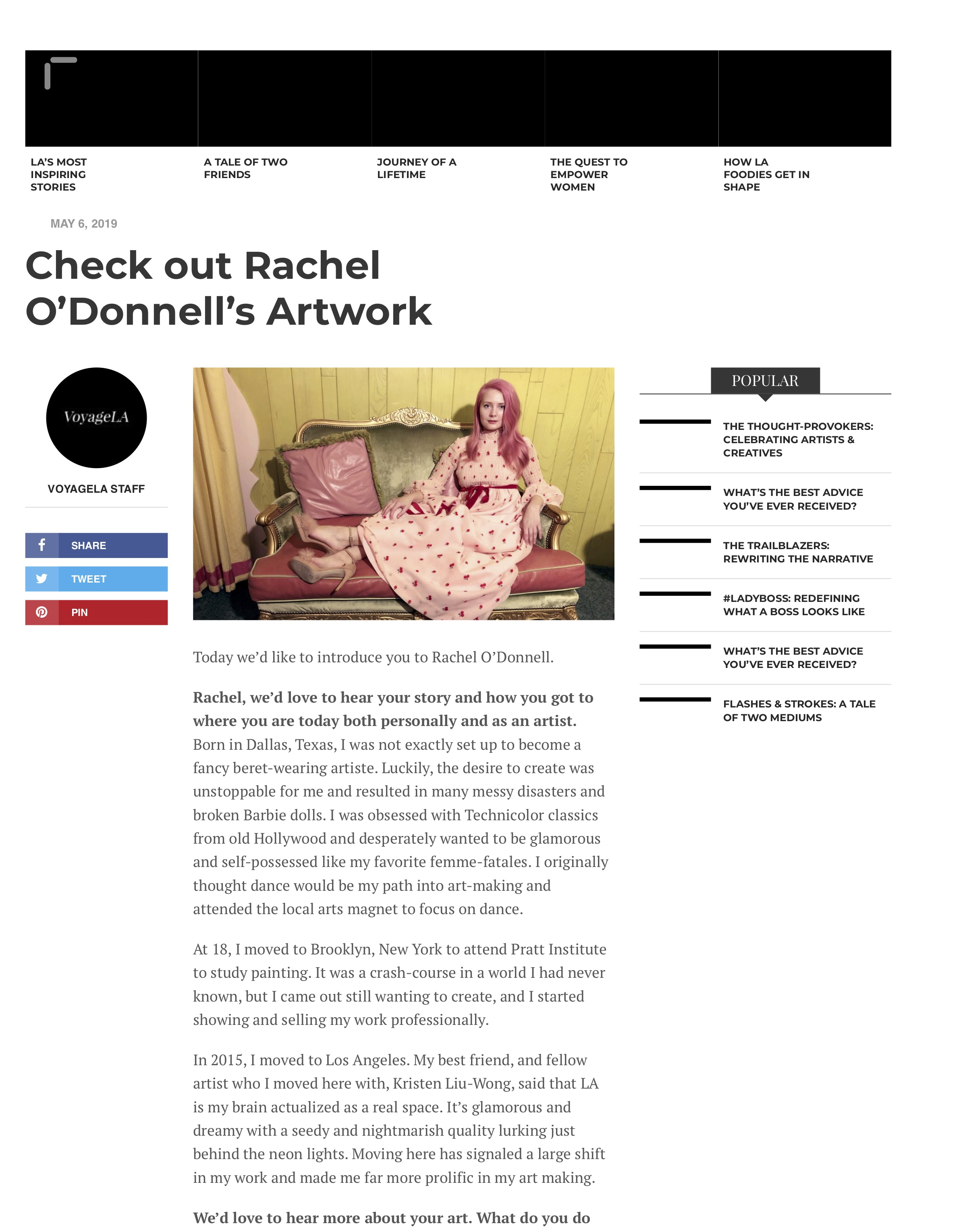 VoyageLA interview with Rachel O'Donnell