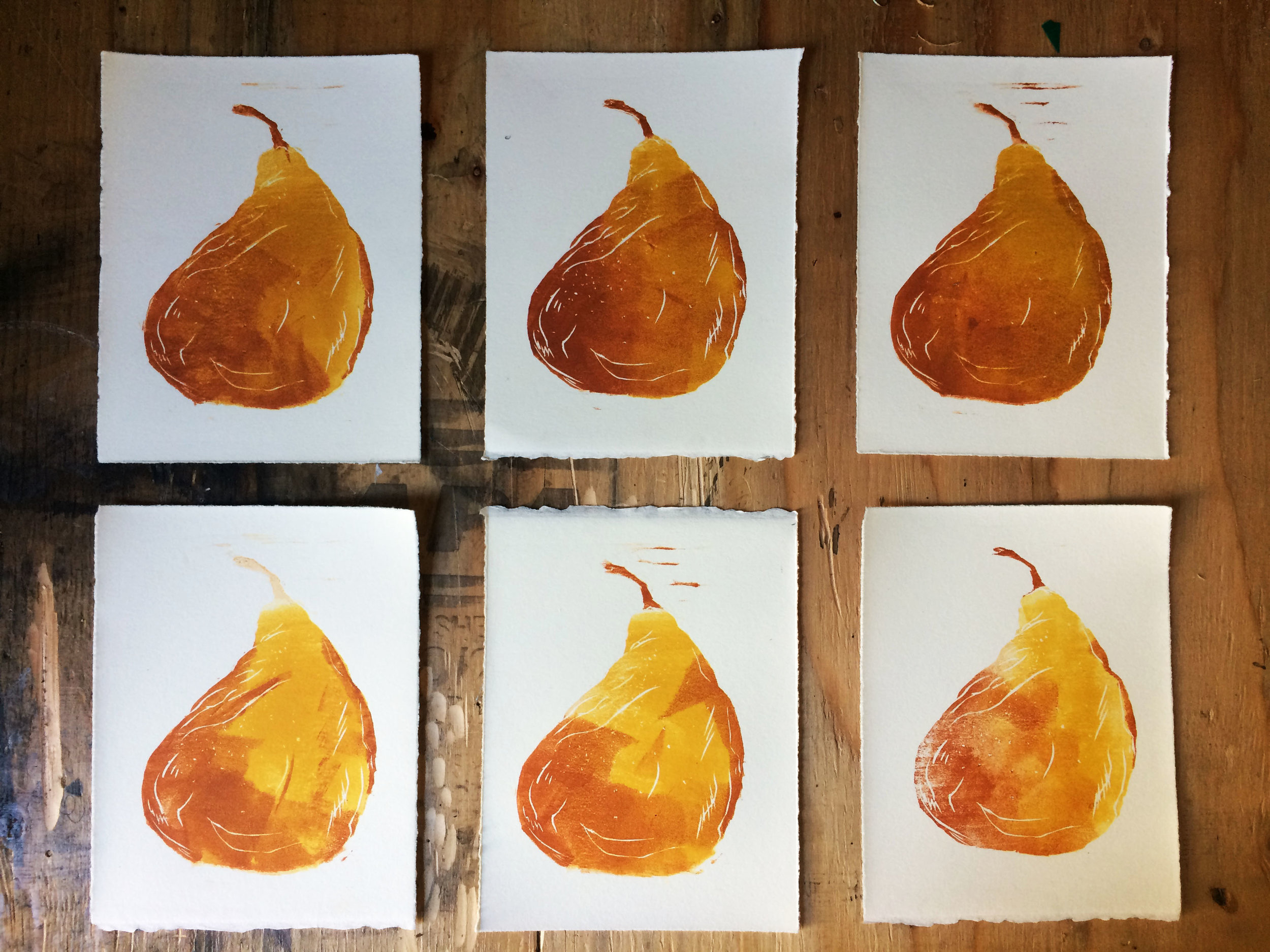 Pear Monoprints