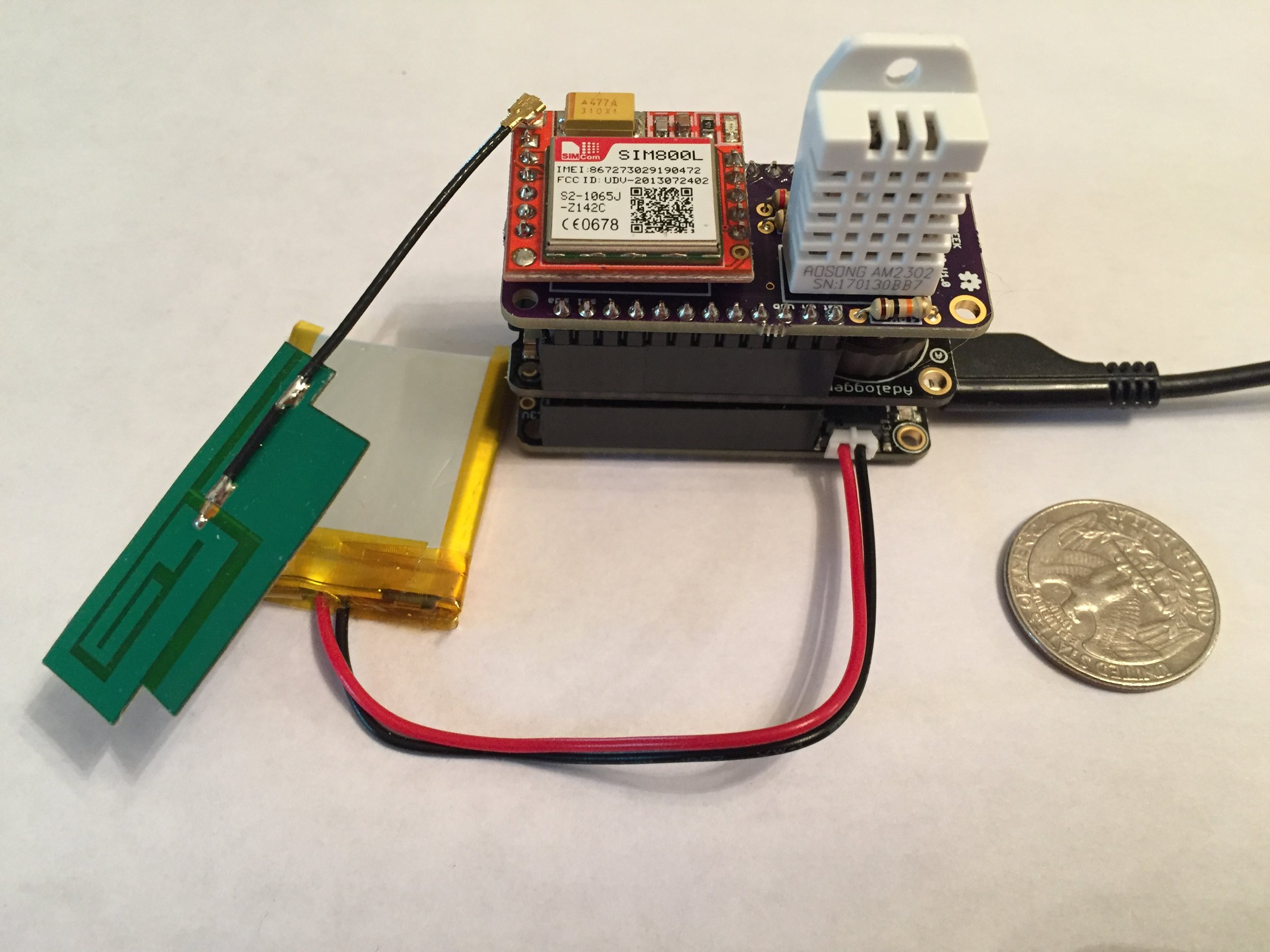 """Working prototype of the new sensor design.""""The new sensors place an emphasis on  simplicity and reliability , so things like a failed radio transmission or network connection will never get in the way of writing an accurate temperature log to the SD card."""" -Ryan Boland, chief product designer of our new sensor"""