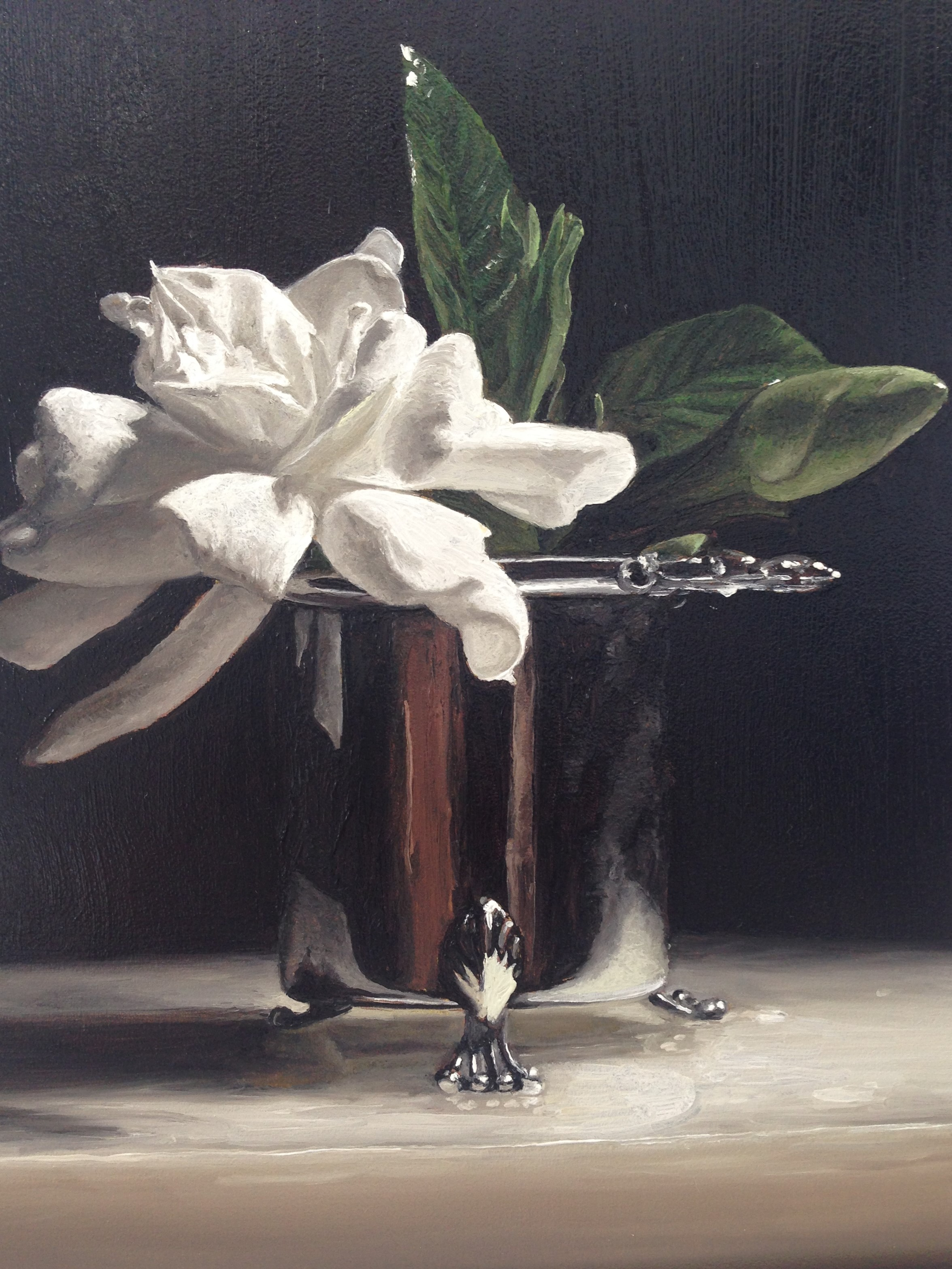 Painting by Patty B. entitled Irene, Gardenias in January, oil on canvas.