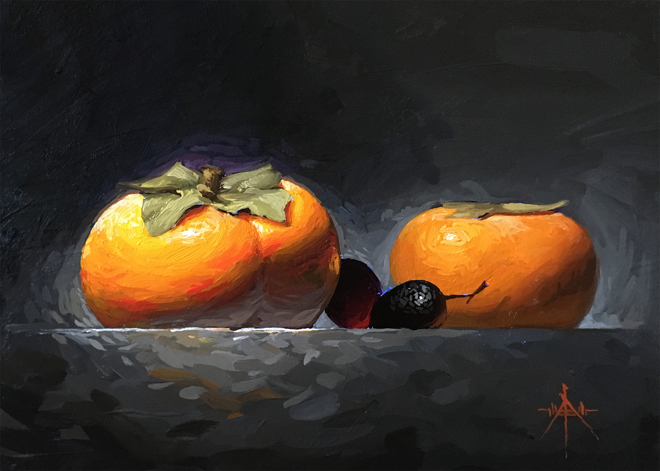 Painting by Artist Blair Atherholt entitled  Persimmons