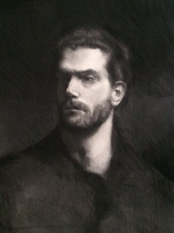 Enrico by William J. Rushton  26 3/4 by 33 3/4 charcoal life drawing on acid free paper sight-sized framed