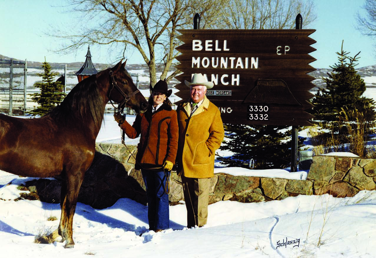 Ed Young, along with Carol Nelson and Gallant Joy, at Bell Mountain stables (now Bell Mountain Ranch Equestrian Center) in 1971. (photo  ©  Schlenzig)