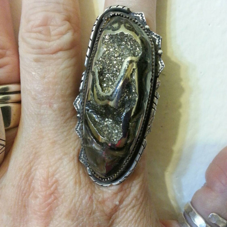Fossil Pyrite Statement Ring