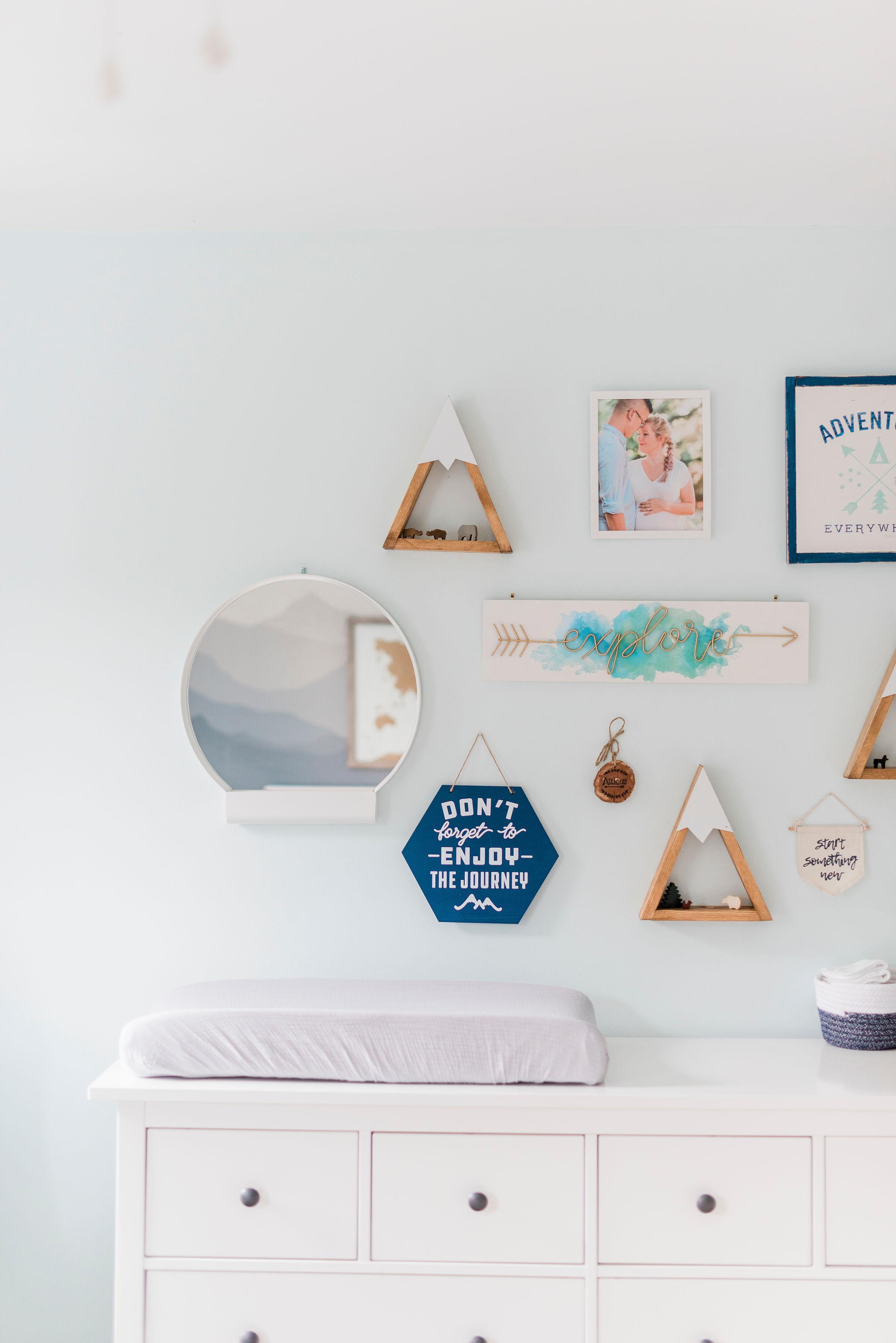 Dresser:  IKEA Hemnes   Mountain Shelves:  Etsy