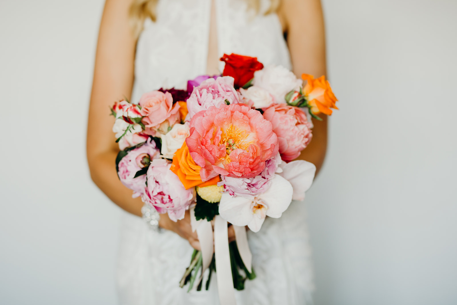 The bouquet by The Flower Drum & the palette I was given for the cake. Image by Folk & Follow
