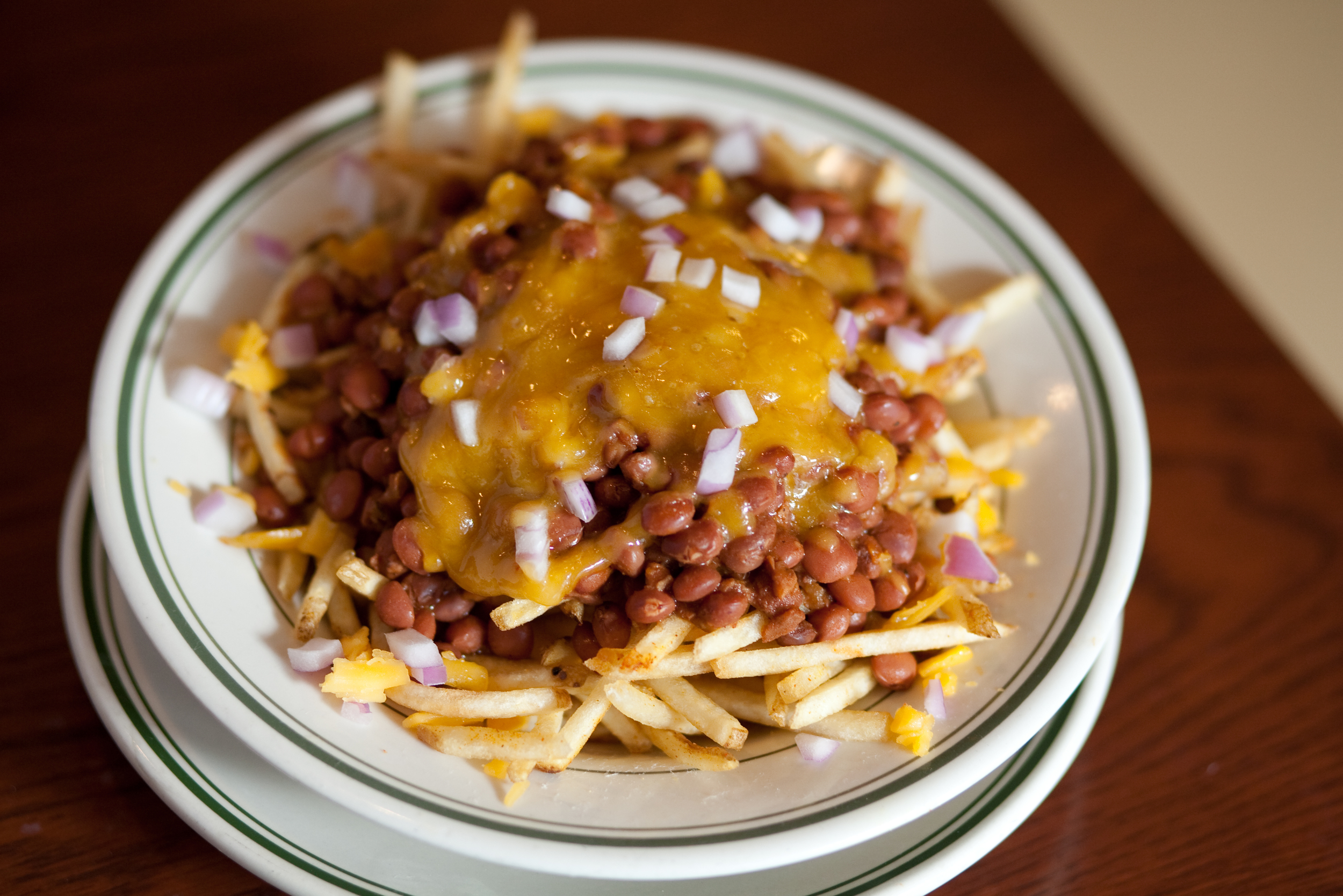 Vegan Chili Fries with Cheddar