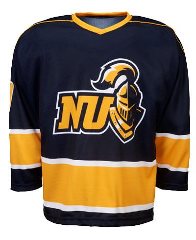 NU Navy Blue Yellow Black and White  hockey uniforms jerseys
