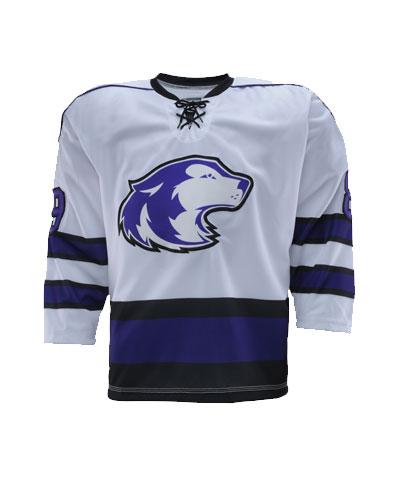 White Blue and Black hockey uniforms jerseys