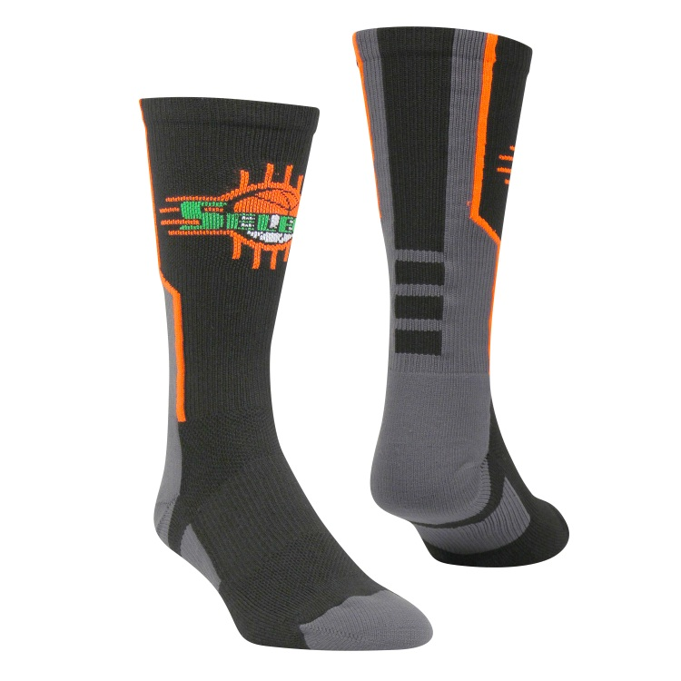 Black Grey Orange and Green Baseball Uniforms, Socks