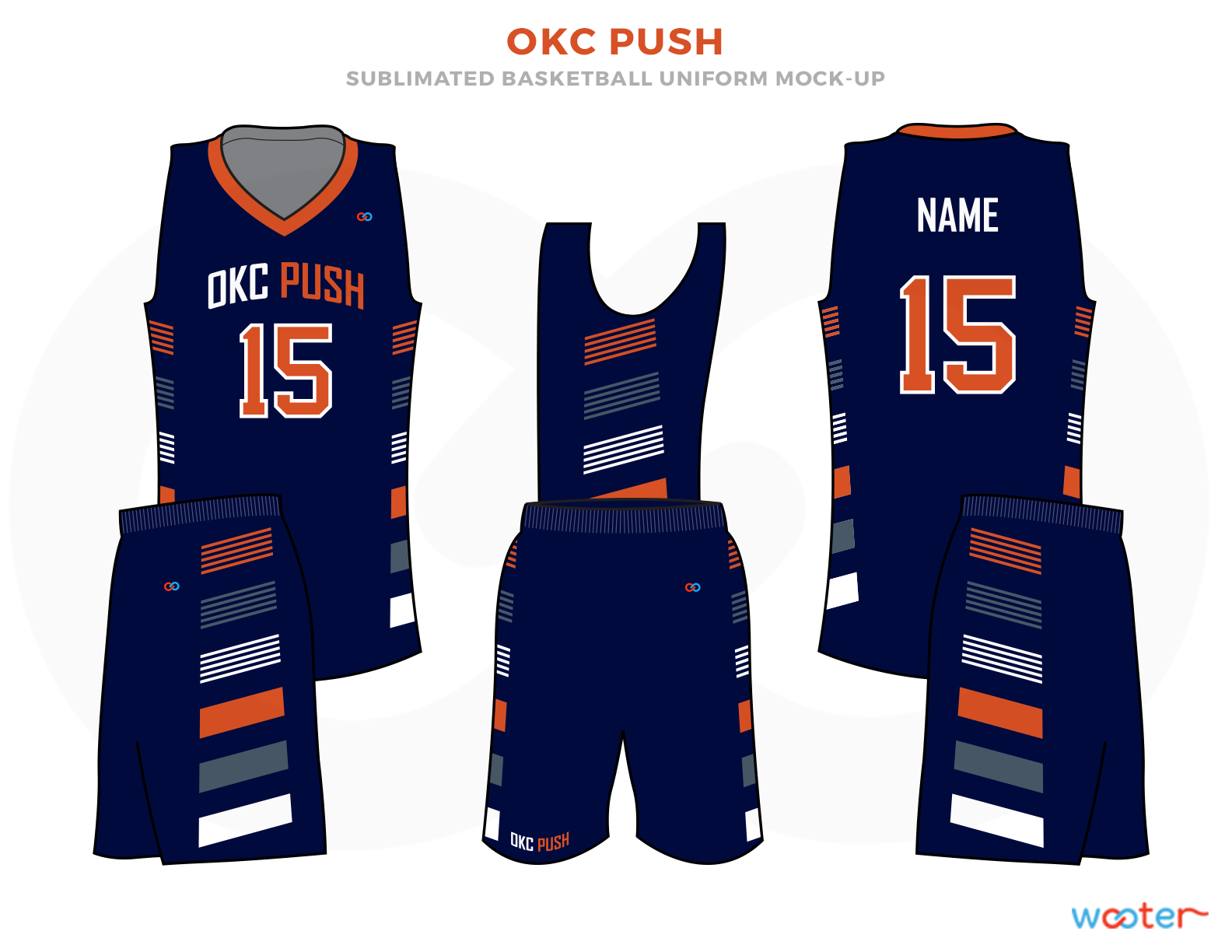 OKC PUSH Blue Pink Orange and White Basketball Uniforms, Jersey and Shorts