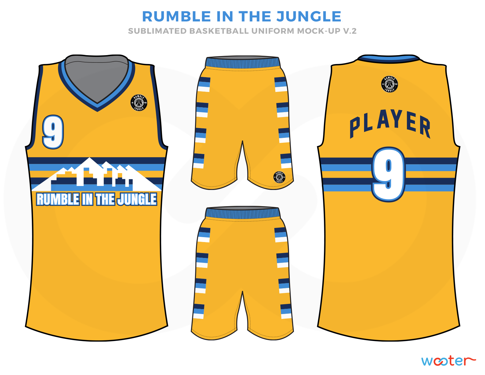 RUMBLE IN THE JUNGLE Yellow Blue Sky and White Basketball Uniforms, Jersey and Shorts