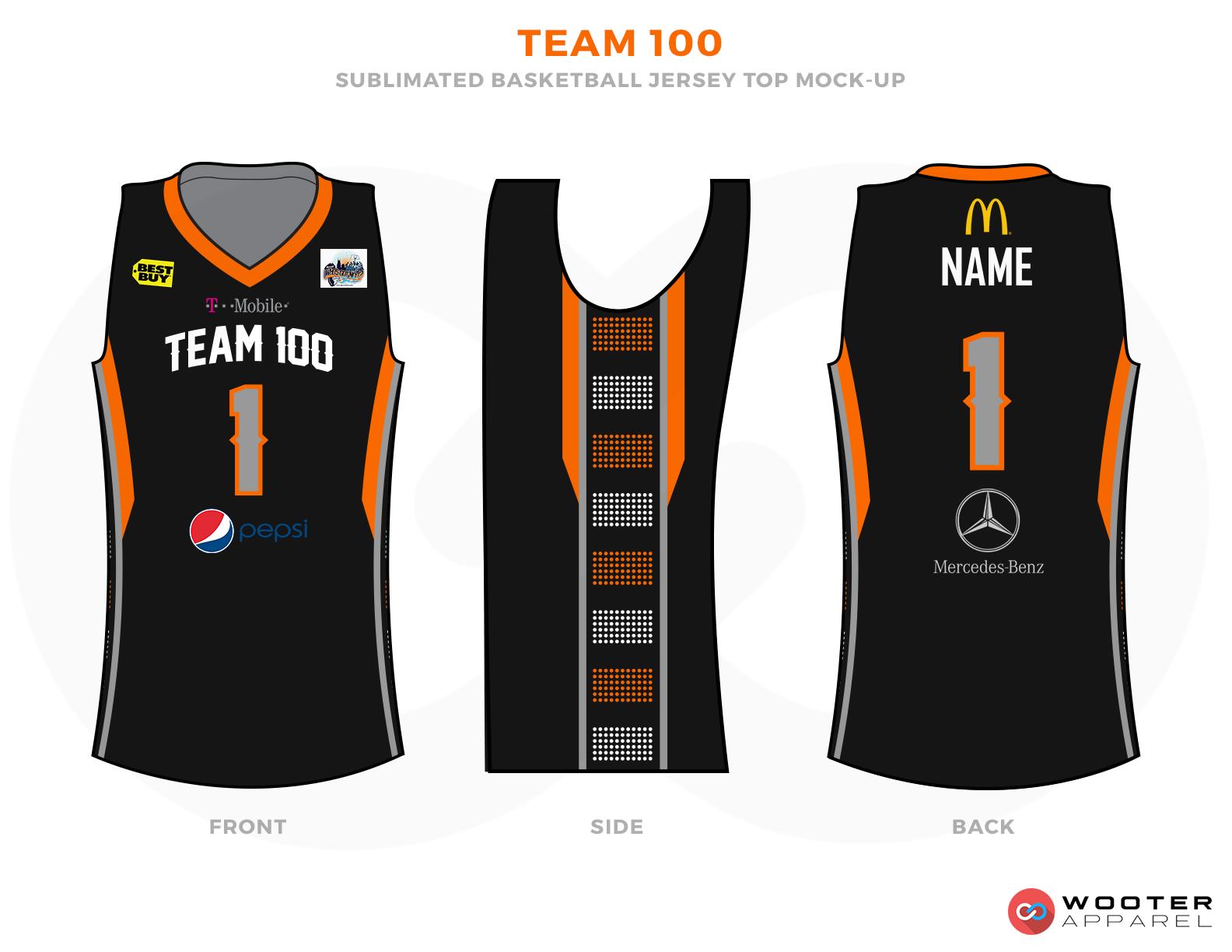 TEAM 100 Black Orange Grey Yellow Blue Red and White Basketball Uniforms, Jerseys