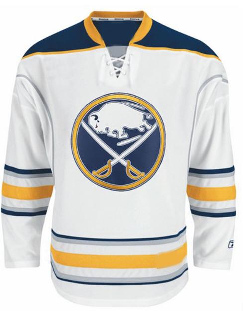 White Blue and Yellow  hockey uniforms jerseys