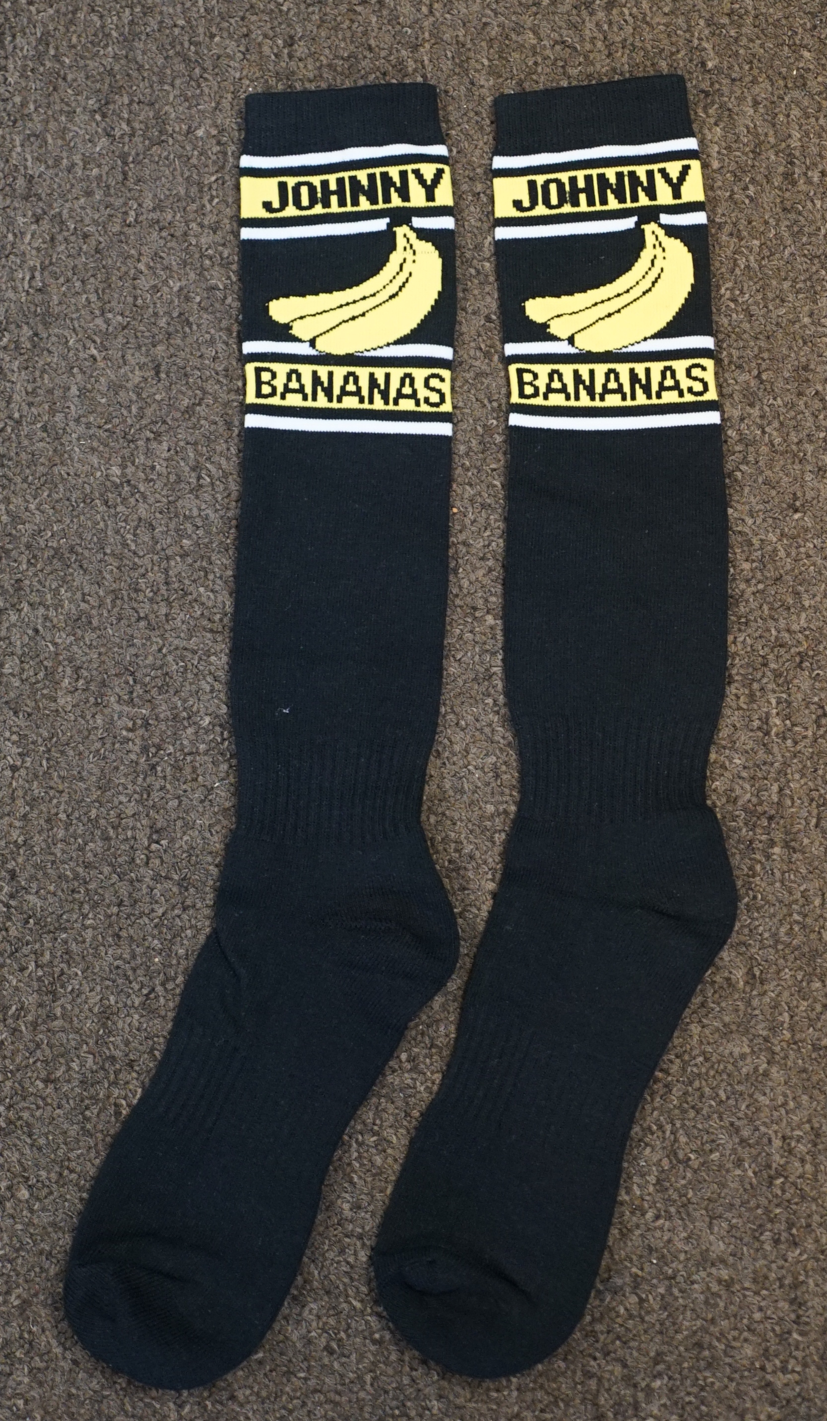 JOHNNY BANANAS Black White and Skin Baseball Uniforms, Socks