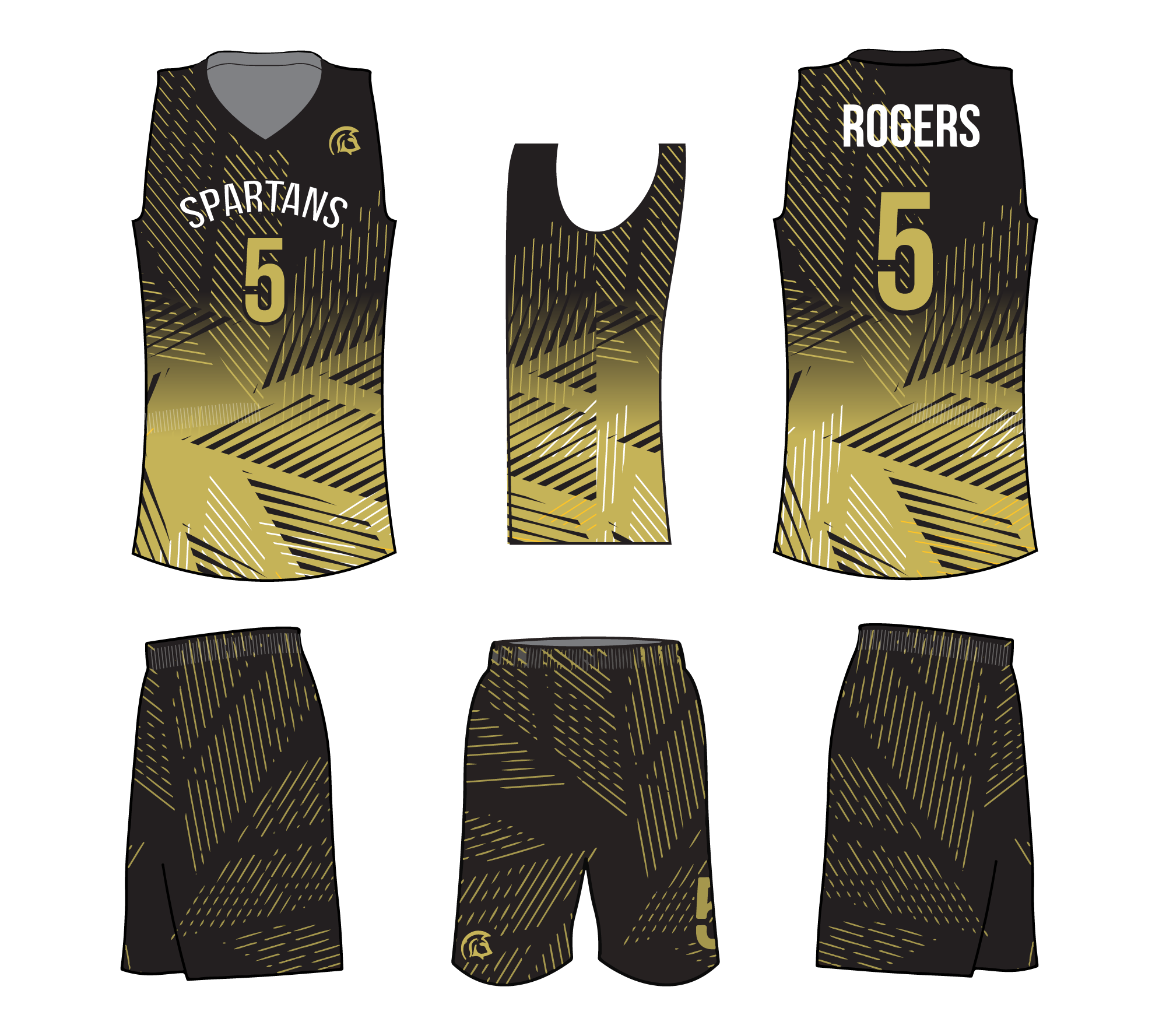 ROGERS Beige White and Grey Basketball Uniforms, Jersey and Shorts