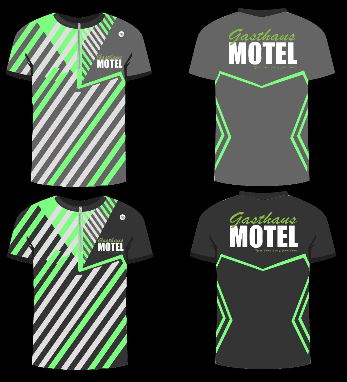 MOTEL Grey Green and White bowling uniforms, shirts, quarter zip polo