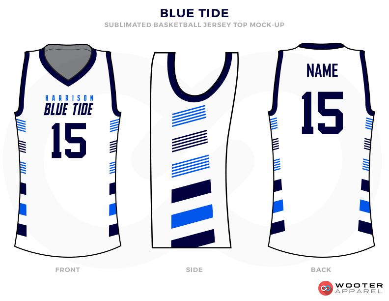 BLUE TIDE White Blue and Sky Basketball Uniforms, Jerseys