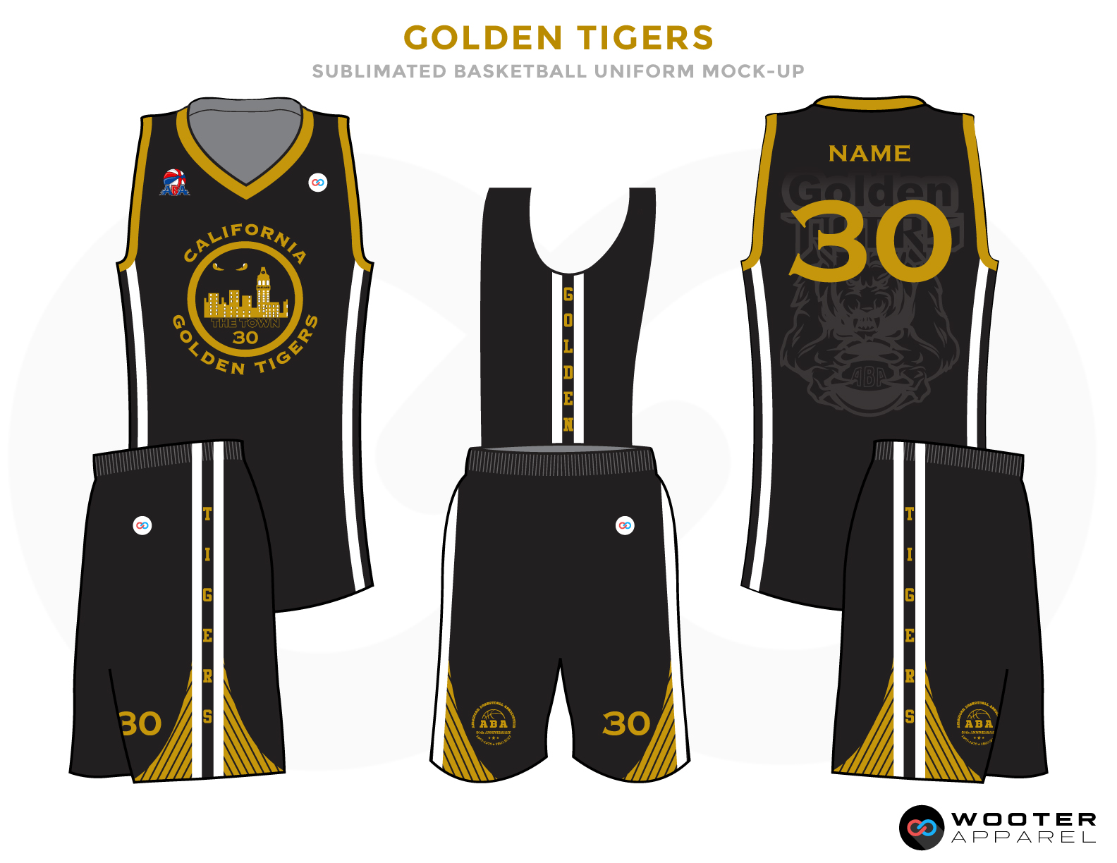 GOLDEN TIGERS Black Grey Golden and White Basketball Uniforms, Jersey and Shorts