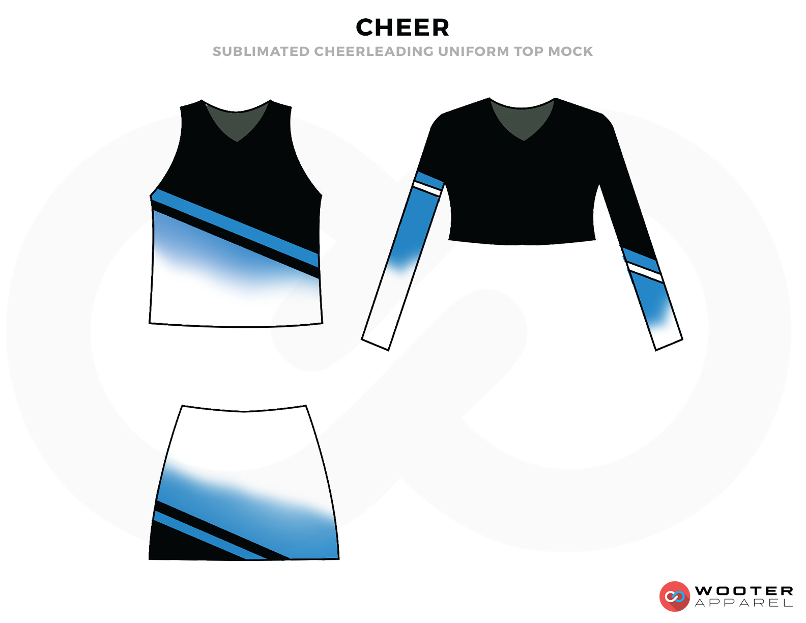 CHEER Black Blue and White Baseball Uniforms, Upper Top and Skirts