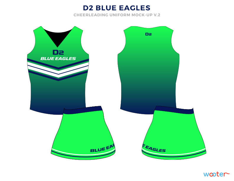 D2 BLUE EAGLES Black White Blue and Green Baseball Uniforms, Top and Skirts