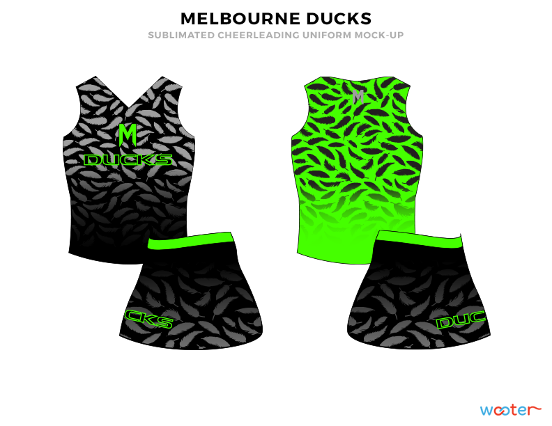 MELBOURNE DUCKS Black Grey and Green Cheerleading Uniforms, Top and Skirts